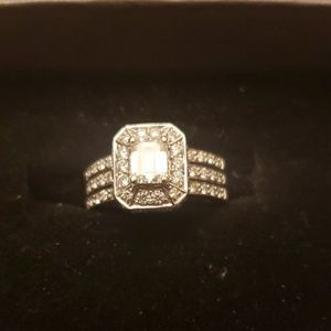 Jewelry - 14kt solid white gold emerald cut diamond ring